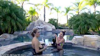 AllOver30 - Elexis Monroe & Tiffany Paris Hot Tubbing