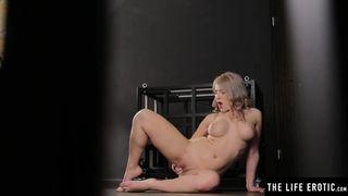 The Life Erotic - Horny Blonde Masturbates Hard in a Bondage Cage