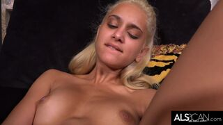 Uma Jolie Cums Toying Shaved Pussy in Tall Socks