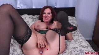 AllOver30 - Busty Mature Redhead MILF Andi James Fingering with a Buttplug