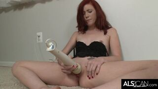 ALS Scan - Tiny Tits Redhead Gets herself off with High Powered Hitachi