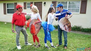 Daughter Swap - Teen Neighbors Swap & Fuck Dad to Vote Red & Blue