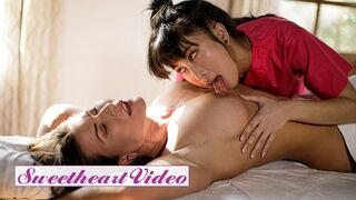 Sweetheart Video - Brunette MILF Ariel X Making out with her Busty Asian Masseuse Jade Kush