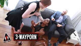 3-Way Porn - Ginger Girl use her Sex Slave for a Threesome