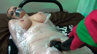 Club Nadia White - Nadia White is wrapped in plastic and groped