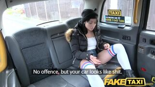 Fake Taxi - Knee High Socks Beauty with no Knickers Takes it all