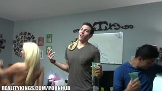 Dare Dorm - Group of HOT Blonde College Lesbians Start a Dorm Room Fuck Party