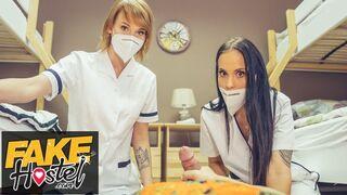Fake Hostel - Threesome with Redhead and Latina Nurses