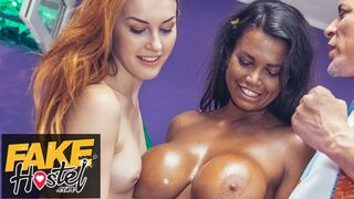 Fake Hostel - Step Sisters Fuck their Step Dad Charlie Red and Chloe Lamour