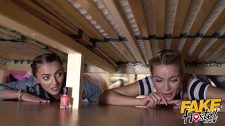 Fake Hostel - two Hot Girls get Stuck under a Bunk Bed