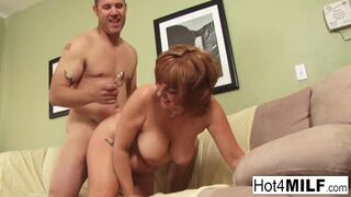 Hot 4 Milf - Sexy Redheaded MILF Gets Cum all over her Big Tits!