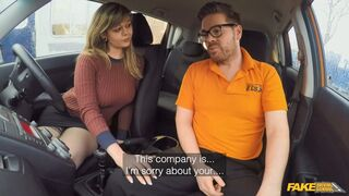 Fake Driving School - 34F Boobs Bouncing In Driving Lesson