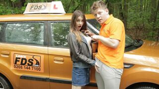 Fake Driving School - Teen Brunette Pussy Stretched