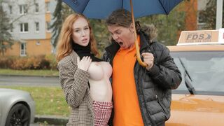 Fake Driving School - Redhead Distracts With No Bra On