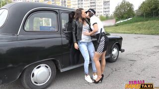Female Fake Taxi - Lesbian Cop Catches Naughty Cabbie