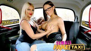 Female Fake Taxi - Lesbians Admire each others Beautiful Big Boobs