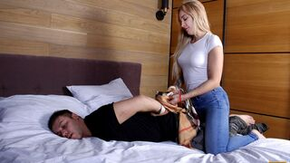 Debt4K - This hot blondie is only good at two things: sharpshooting and fucking guys.