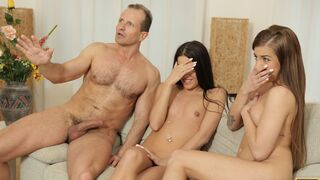 Daddy 4K - Mom's two daughters getting naughty in her property