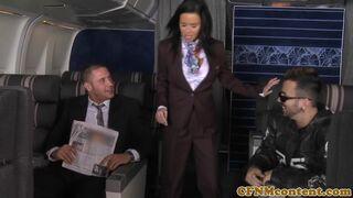 CFNM Secret - Air hostesses foursome fucking on flight