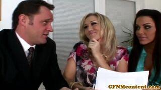CFNM Secret - Bigtitted cfnm milfs in trio cocksucking