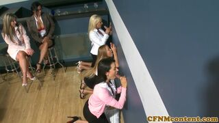 CFNM Secret - Classy cfnm cougar takes bffs to a gloryhole