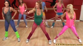 CFNM Secret - Busty yoga milfs dominate in cfnm group