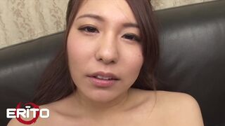 Busty Brunette Masturbates with a Big Dildo before getting Creampied in a Threesome