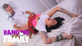 Banging Family - Step-Daddy Teaches Inked Schoolgirl a Nasty Lesson