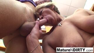 Mature N Dirty - Sexy Older Slut Bangs a Young Guy in a Rental Store