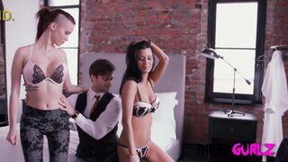 Big Tits Red Head & Brunette MILF in Inked Threesome