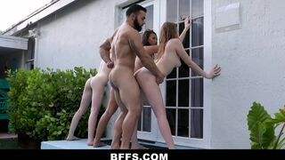 Lucky Man Discovers 3 Trespassers at his Beach House and Fucks all 3