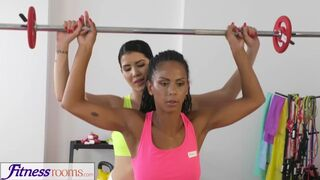 Fitness Rooms - Soaking Lesbian Pussy Gets Fucked