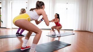 Fitness Rooms - Intimate three way lesbian work out