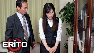 Erito - Petite Brunette Secretary Wears a Short Skirt at the Office & her Boss Teaches her a Lesson