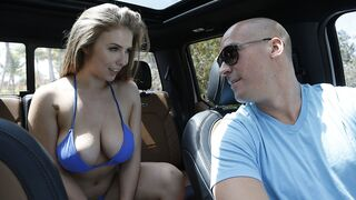 Big Naturals - Lena's come to the beach for a photo shoot of her bouncy boobs in a hot blue bikini, but as she runs in and out of the waves she doesn't realize she's right under Sean Lawless's balcony