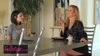 Mom Knows Best - Step Mom Cherie DeVille gives her Daughter some Pussy for Breakfe