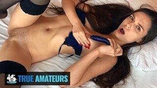 True Amateurs - Sexy Brunette Babe Natalissa with Black Stockings, Fucks her Pussy with Big Dildo
