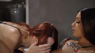 Cute babes Charlie Red and Martina Smeraldi eat each other pussies