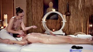 Petite nymph masseuse oiled and wet