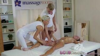 Girl Gets Cum inside in Oily Massage Threesome