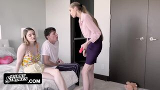 Family Strokes - Busty Teen Bunny Colby Penalized by Mommy to take Stepbro's Dick