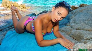 OyeLoca - Pretty playful curvy Latina Claudia Bavel screwed by two big cocks