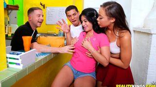 Money Talks - Sweet models Selena Santana, Olivia Lua and Marsha May love sex
