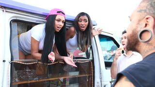 Money Talks - Beautiful ebonies Bethany Benz and Raven Wylde share a huge black cock