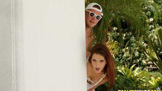 Moms Lick Teens - Stunning lesbians Reagan Foxx and Brooke Haze fuck on the poolside