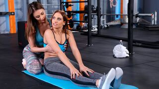 Sneaky Sex - Gorgeous lesbian action in the gym with Alya Stark and Azure Angel