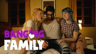 Banging Family - 2 Alt Step-Sisters Share a Huge Cock