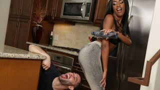 Round and Brown - Playful ebony teen with big tits Ashley Aleigh likes his white dick