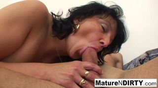 Mature N Dirty - Big Tittied Granny Loves getting Hot Cum on her