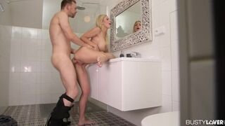 Busty Lover - Busty Blonde Nathaly Cherie Opens up her Asshole for a Veiny Monster Cock